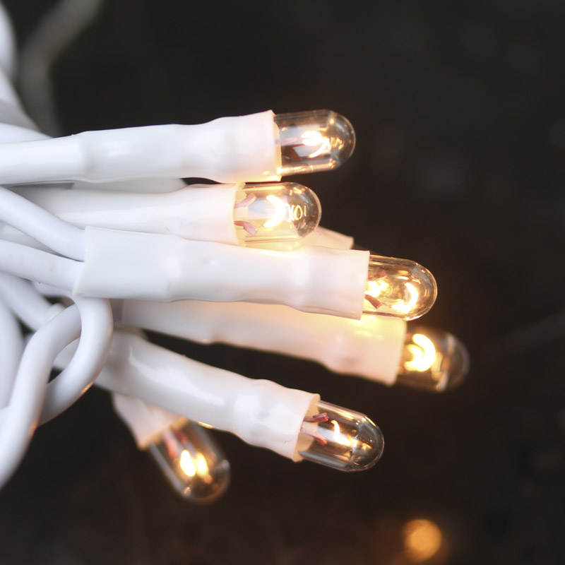 String Lights White Cord : Clear Bulb and White Cord Teeny String Lights - Lighting - Primitive Decor