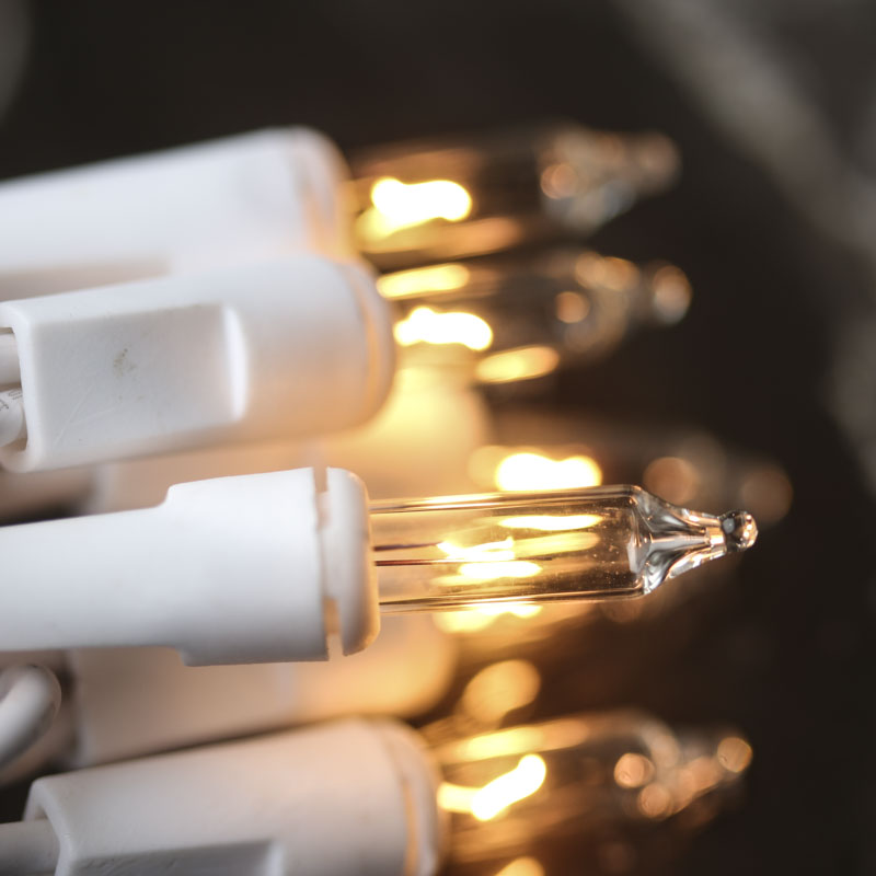 String Lights White Cord : Clear Bulb and White Cord String Lights - Lighting - Primitive Decor
