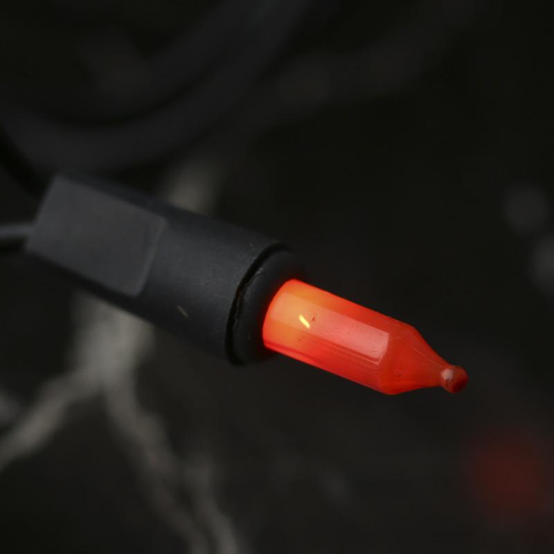 Opaque Orange Bulb and Black Cord String Lights - Lighting - Primitive Decor