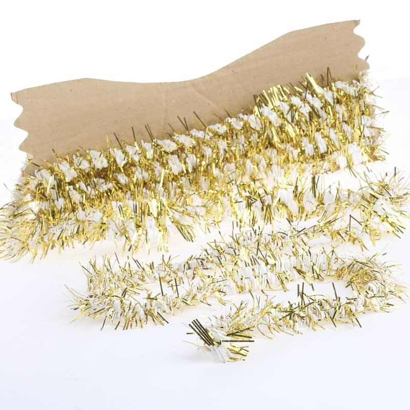 White and gold tinsel garland christmas garlands