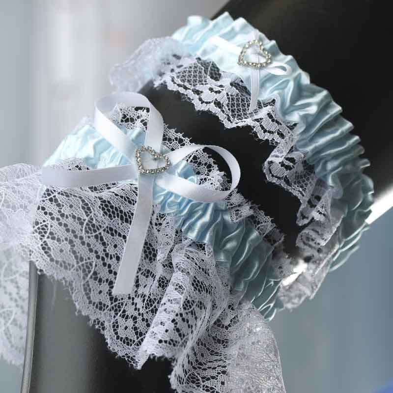 Throw Away And Keep Blue Wedding Garter Set