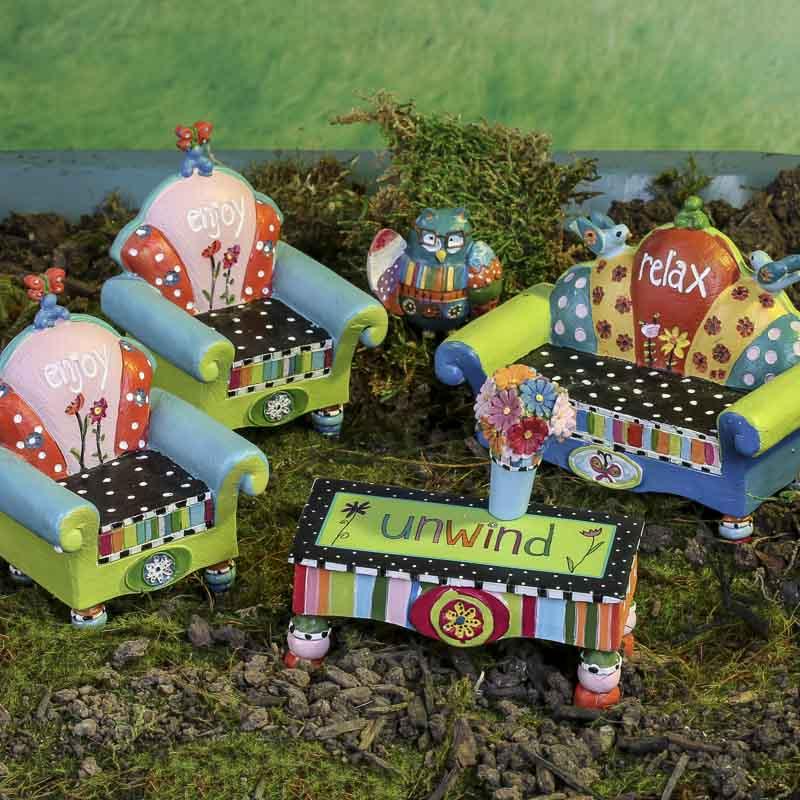 mini quirky garden furniture set fairy garden miniatures dollhouse miniatures doll making. Black Bedroom Furniture Sets. Home Design Ideas
