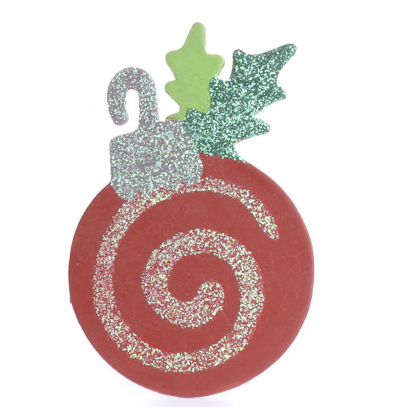 Finished Wood Sparkling Christmas Ornament Cutout Wood
