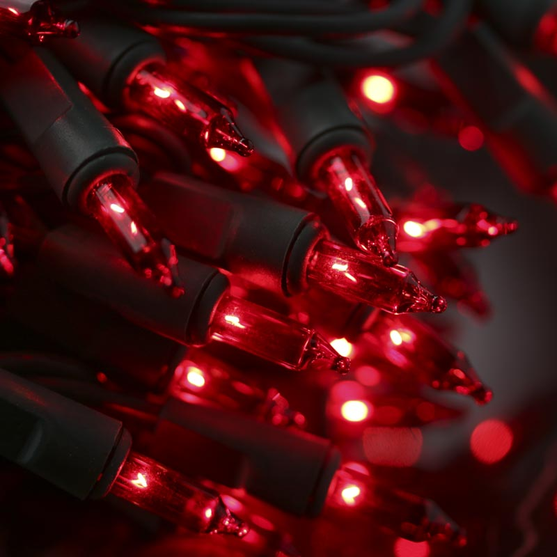 Red Bulb String Lights : Red Bulb and Green Cord String Lights - Lighting - Primitive Decor
