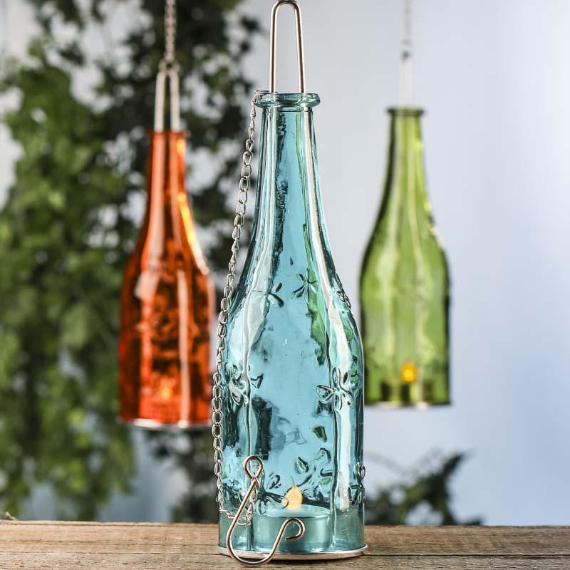 Glass Bottle LED Tea Light Candle Holder - Lighting and Candles ...