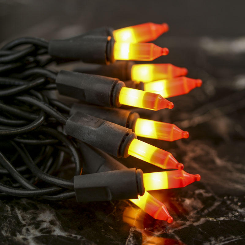 Candy Corn Bulb and Black Cord String Lights - Lighting - Primitive Decor