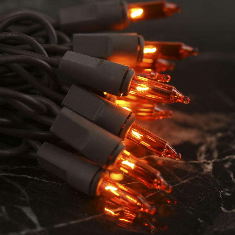 Amber Bulb and Brown Cord String Lights - Lighting and Candles - Fall and Halloween - Holiday Crafts