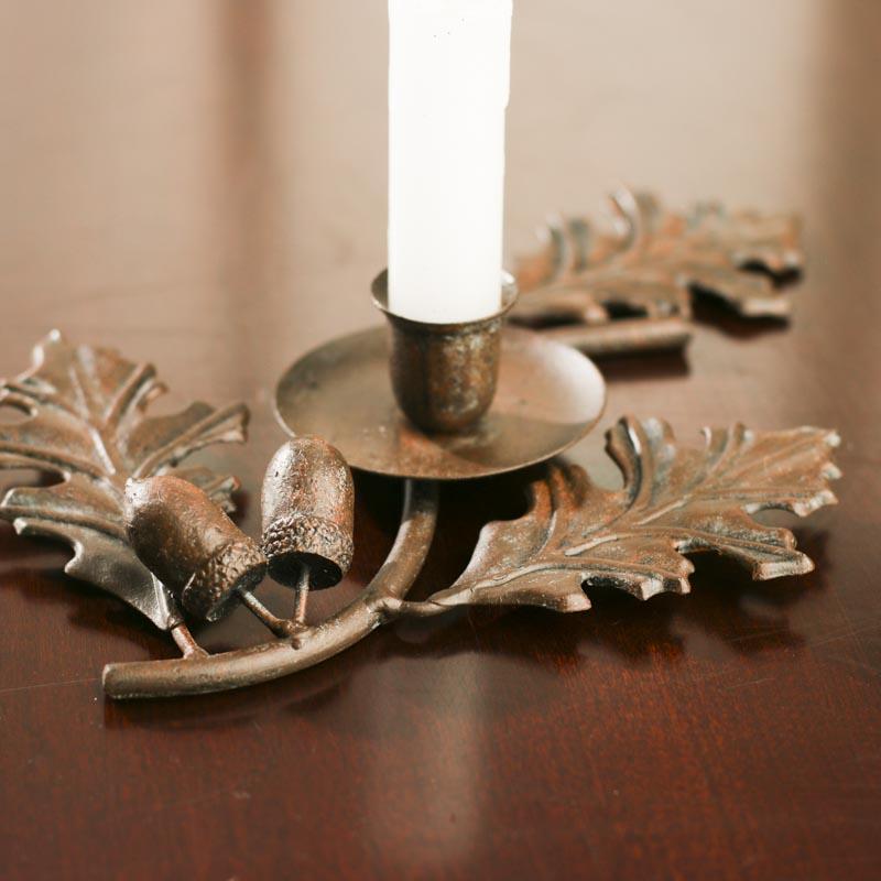 Metal Oak Leaf Candle Holder Fall And Halloween Sale