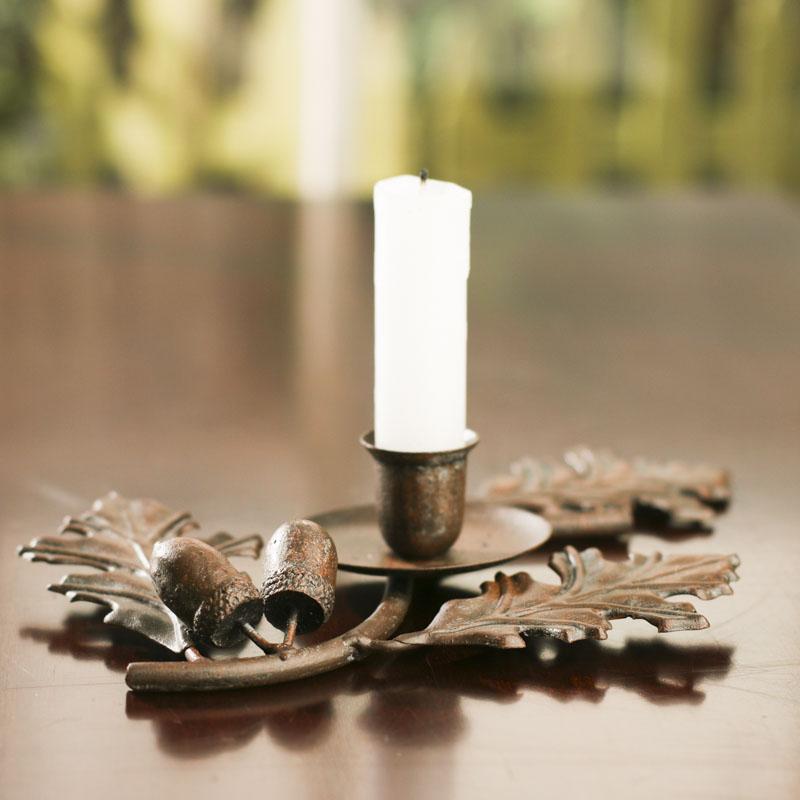 Home Interiors Candles Catalog: Metal Oak Leaf Candle Holder