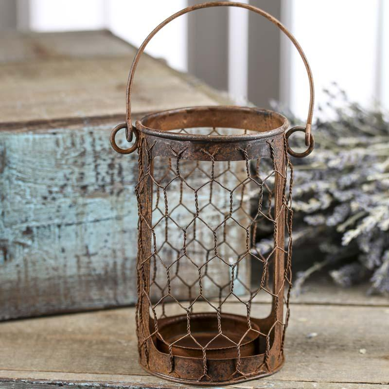 Candle Holder with Chicken Wire