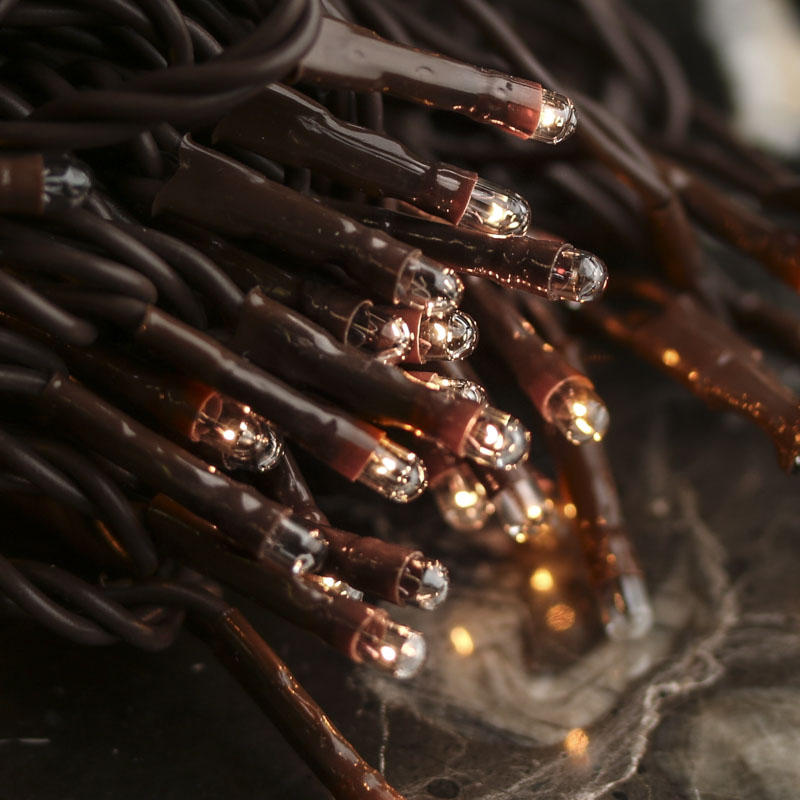 Clear Bulb and Brown Cord Teeny String Lights - Lighting - Primitive Decor