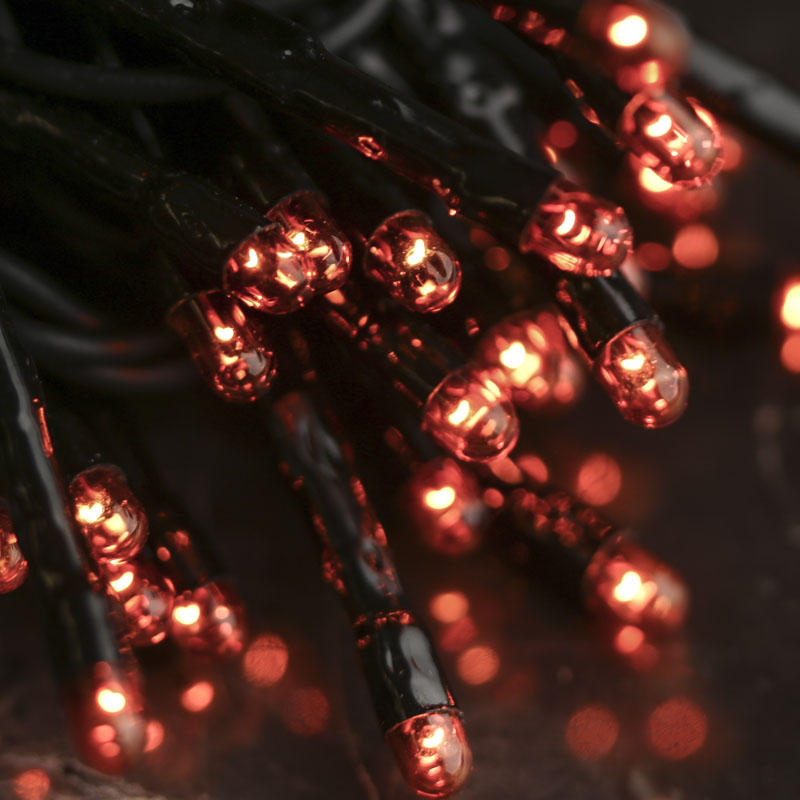 Orange Bulb and Black Cord Teeny String Lights - Lighting - Christmas and Winter - Holiday Crafts
