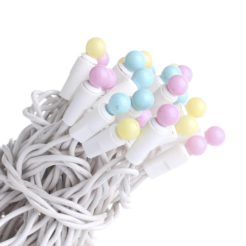 Globe String Lights White Cord : Pastel Globe Bulb and White Cord String Lights - Lighting - Home Decor