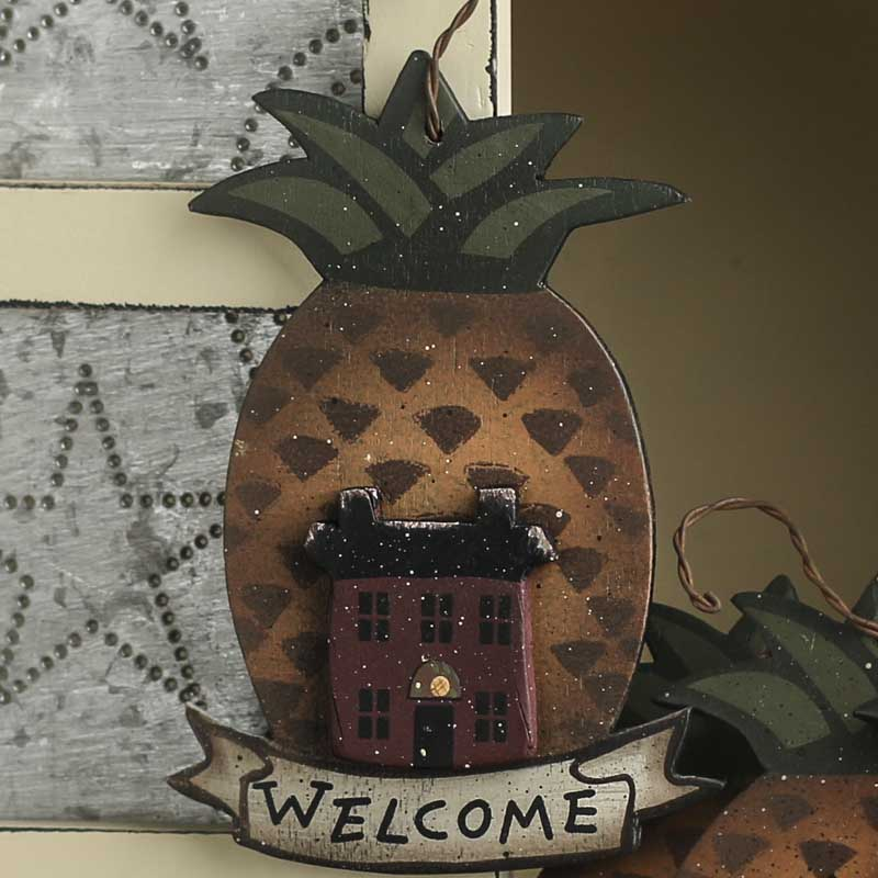 Primitive Wooden Welcome Pineapple Ornament On Sale