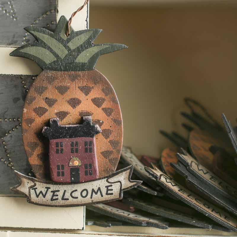 Primitive Wooden Welcome Pineapple Ornament On Sale Home Decor