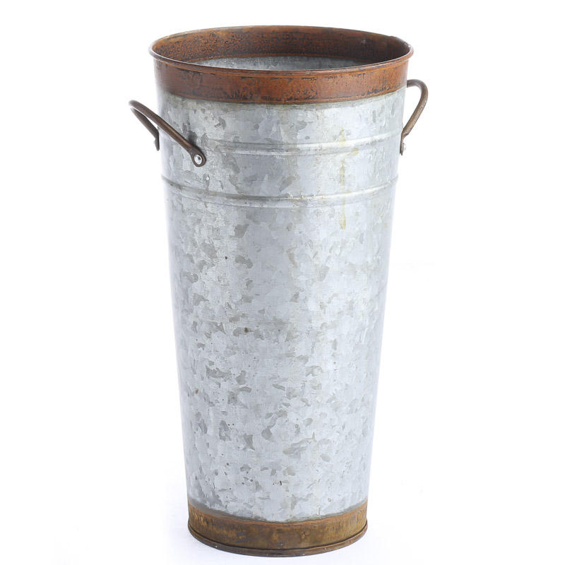 galvanized and rusty tin french flower bucket baskets