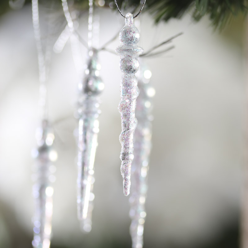 Click Here For A Larger View - Miniature Clear Iridescent Icicle Ornaments - Christmas Ornaments