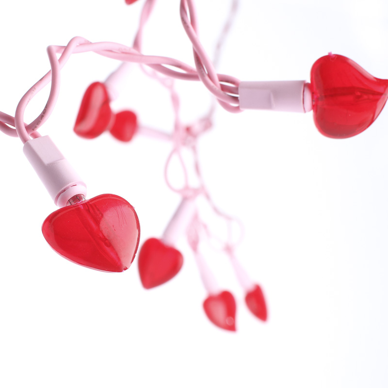 String Lights Valentines : Red Heart Bulb Valentine s Day String Lights - Lighting - Christmas and Winter - Holiday Crafts