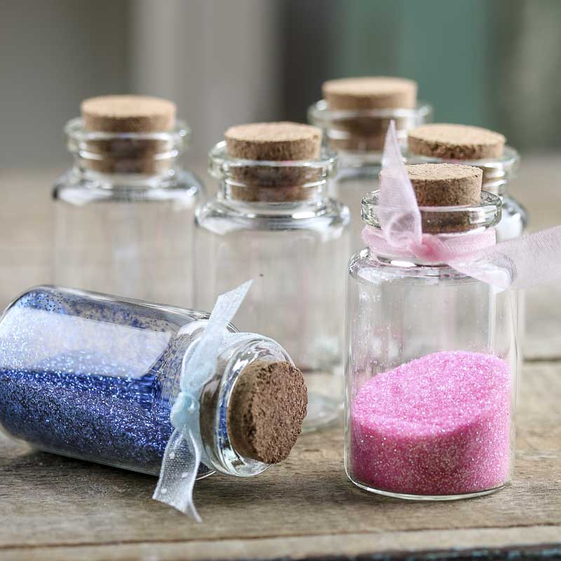 Miniature Corked Glass Bottles Jars Lids And Pumps