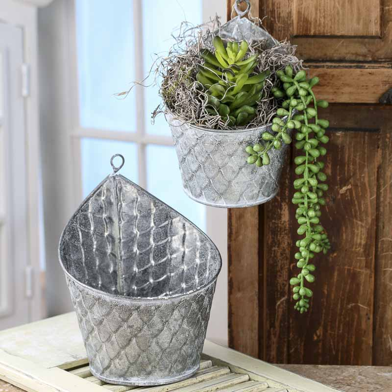 Galvanized Hanging Planters Decorative Accents