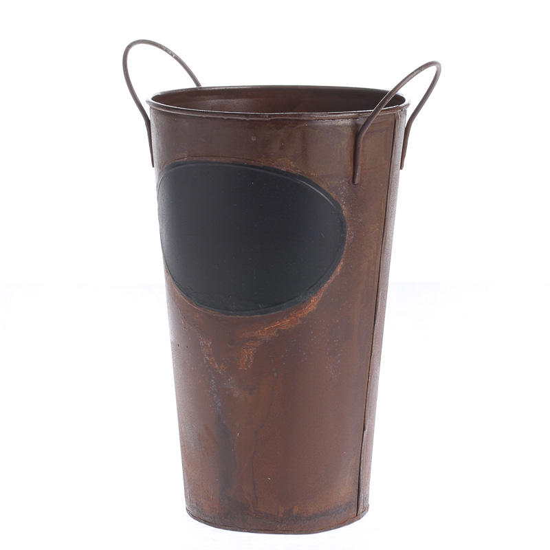 Rustic metal bucket with chalkboard label rusty tin for Rustic galvanized buckets