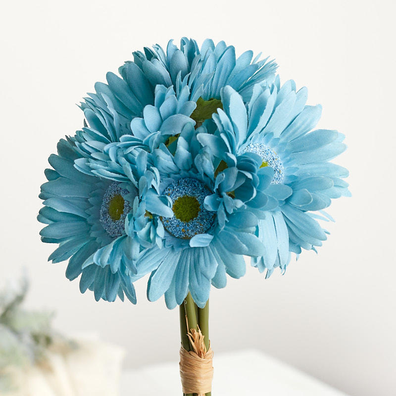 Teal Artificial Gerbera Daisy Bouquet Bushes And