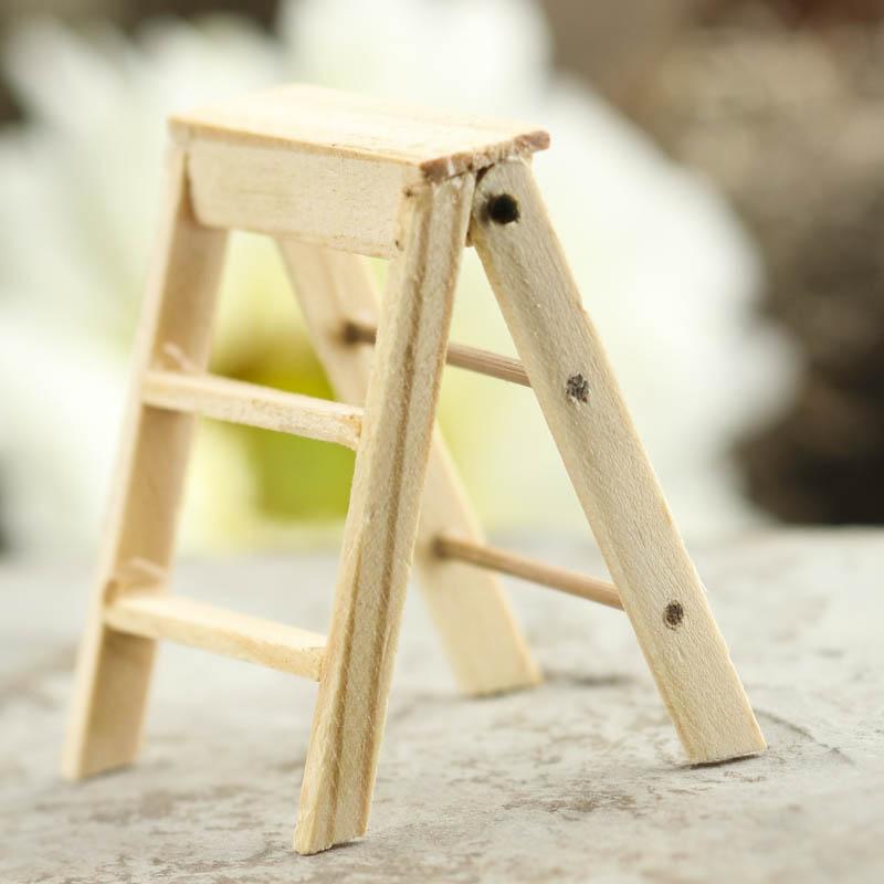 Miniature Wood Step Ladder Fairy Garden Supplies