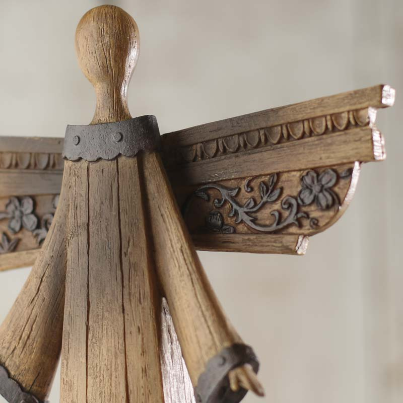 Rustic Wood Look Angel Table and Shelf Sitters Home Decor