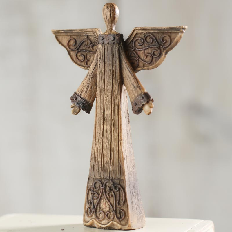 Rustic wood look angel on sale home decor for Home decor items on sale