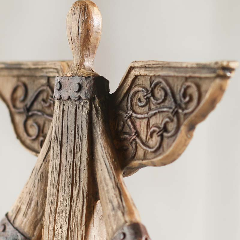 Rustic wood look angel table and shelf sitters home decor for Angels decorations home