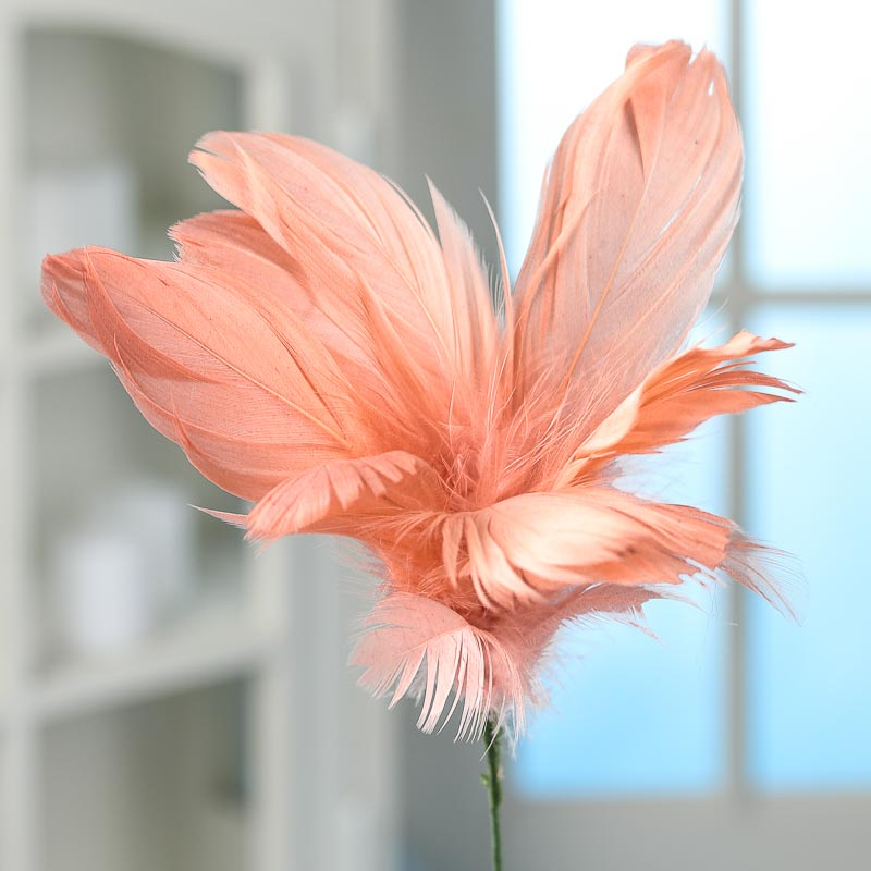 Coral pink goose feather flower stem picks and stems floral item 49069gr color coral mightylinksfo