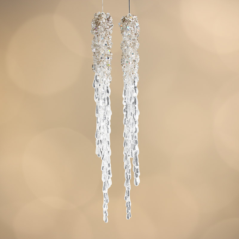 Christmas Decorations Icicle Ornaments: Beaded Acrylic Icicle Ornaments