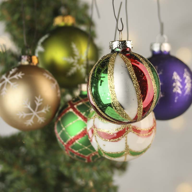 Click Here For A Larger View - Vintage Hand Decorated Glass Ball Ornament Set - Christmas Ornaments