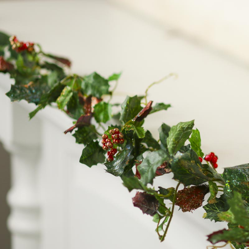 Sparkling artificial holly ivy garland christmas holiday