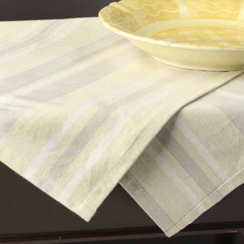 Grey Dish Rags: Cream And Gray Striped Cloth Dish Towel