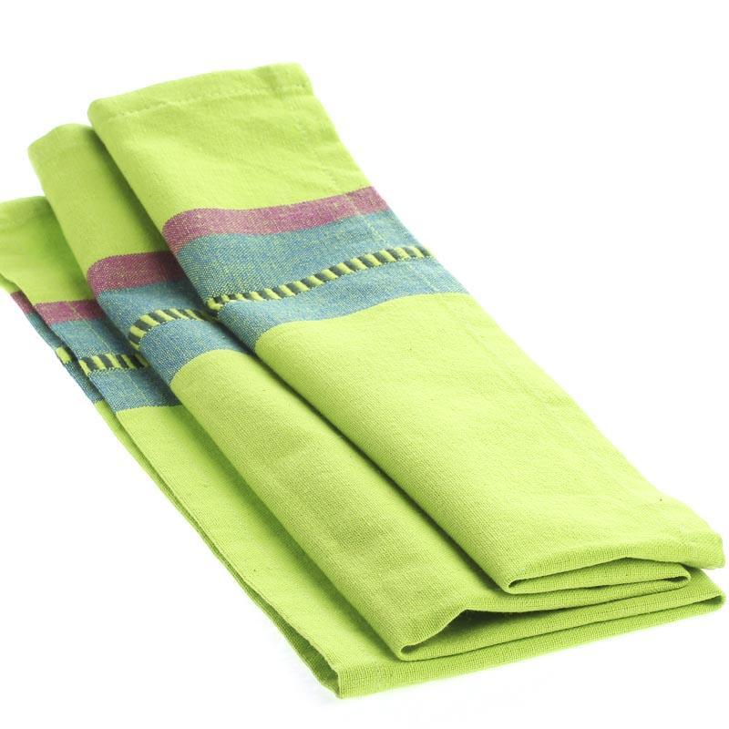 Lime Green Dobby Striped Cloth Dish Towel