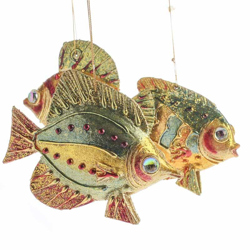 Bejeweled artisan fish ornaments christmas and winter for Christmas ornaments sale