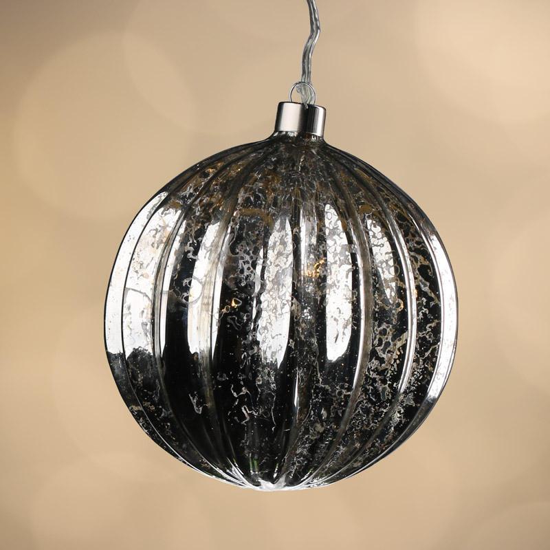 Silver Mercury Glass Battery Operated Ball Ornament Light ...