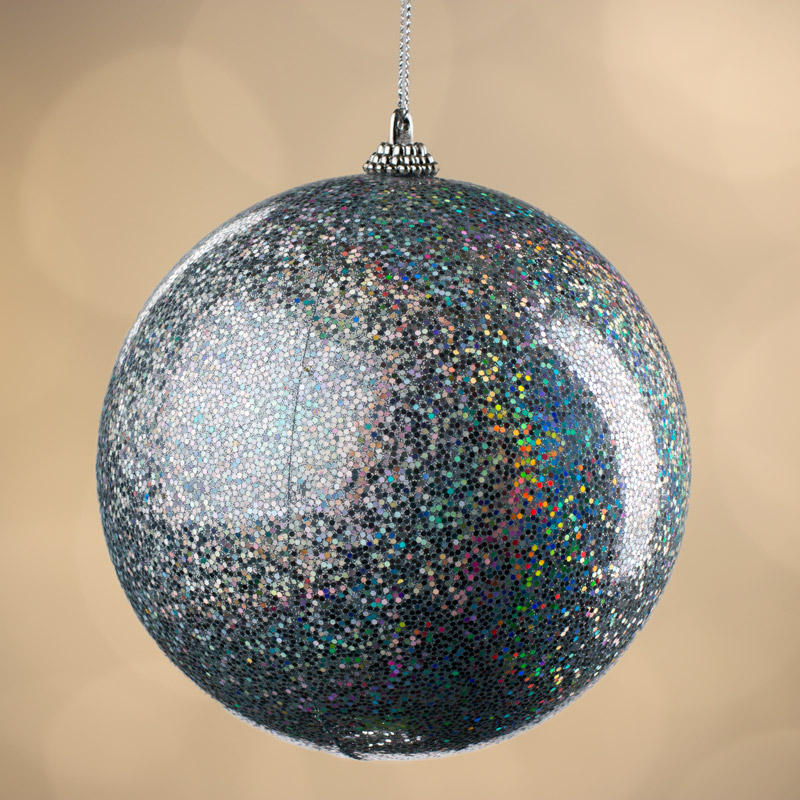 Large Iridescent Silver Ball Ornament - Christmas ...