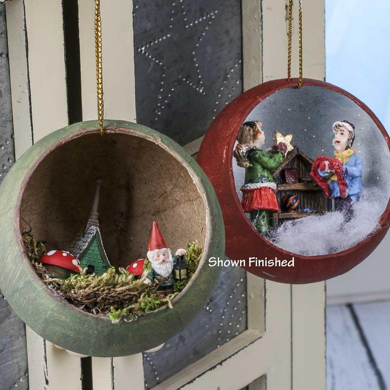 Paper Mache Christmas Ornament.Paper Mache Open Diorama Ball Ornaments