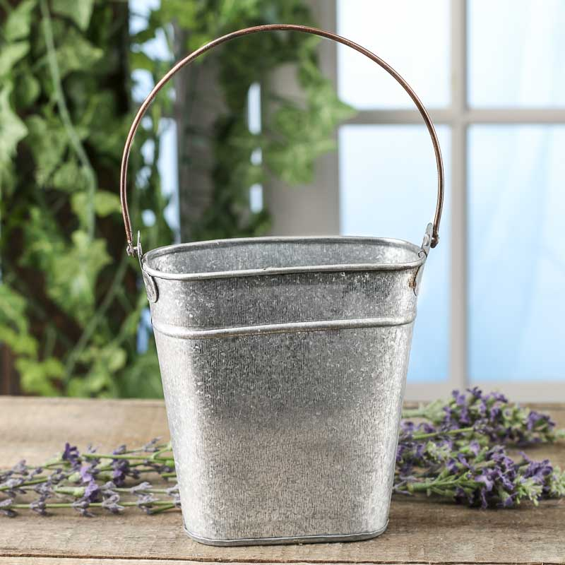 Small Galvanized Tin Wall Pocket Baskets Buckets