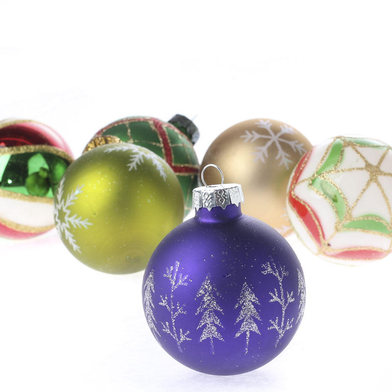 Decorated Christmas Balls: Vintage Hand Decorated Glass Ball Ornament Set
