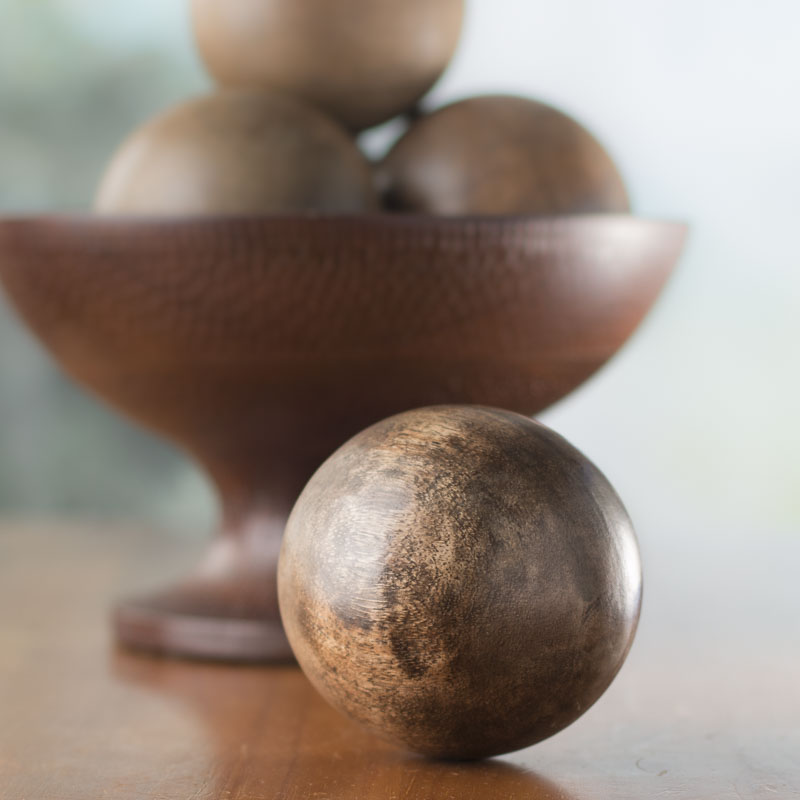 Natural distressed wood decorative ball