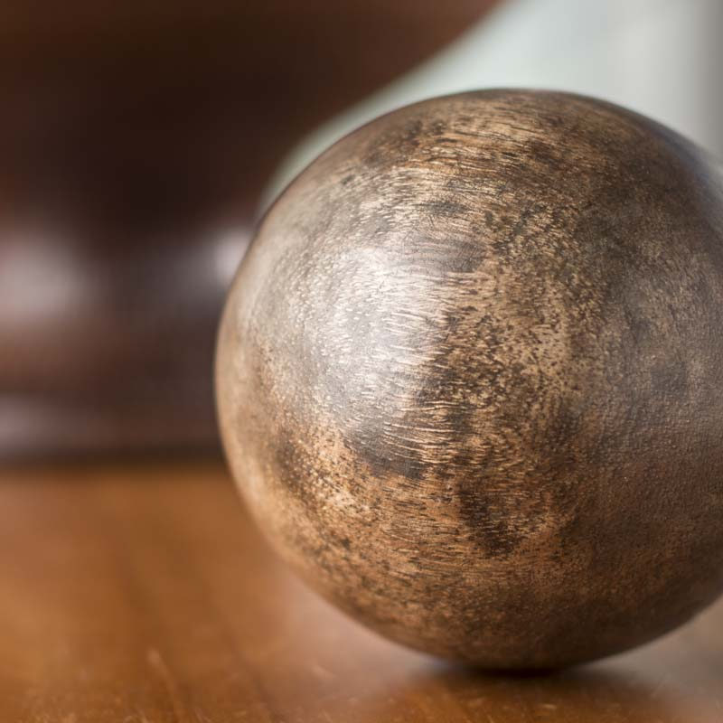 Natural distressed wood decorative ball what s new