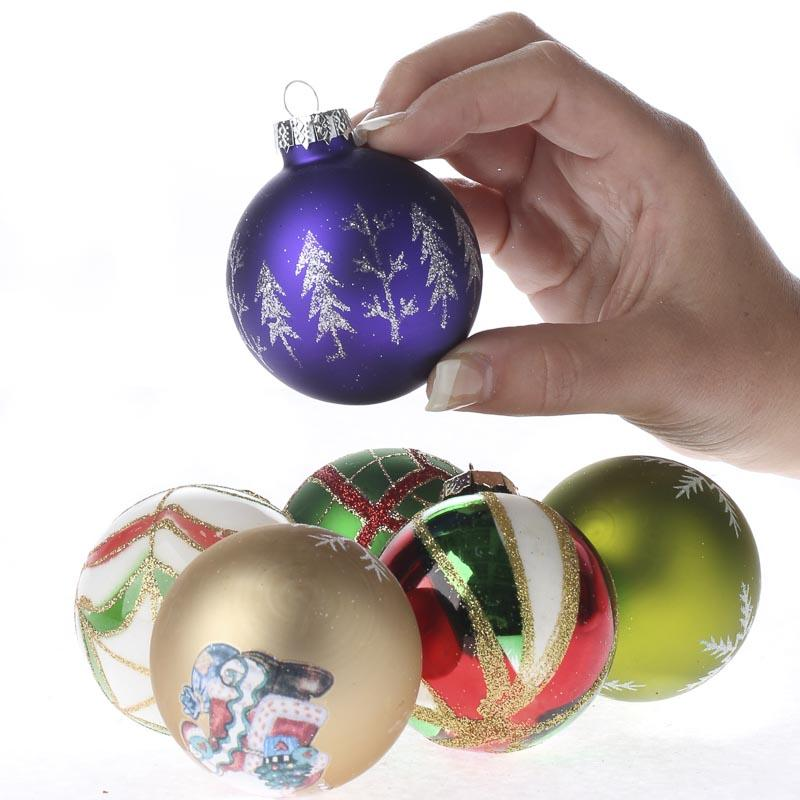 vintage hand decorated glass ball ornament set