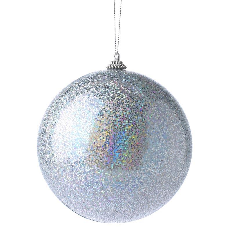 Large iridescent silver ball ornament christmas for Large christmas decorations