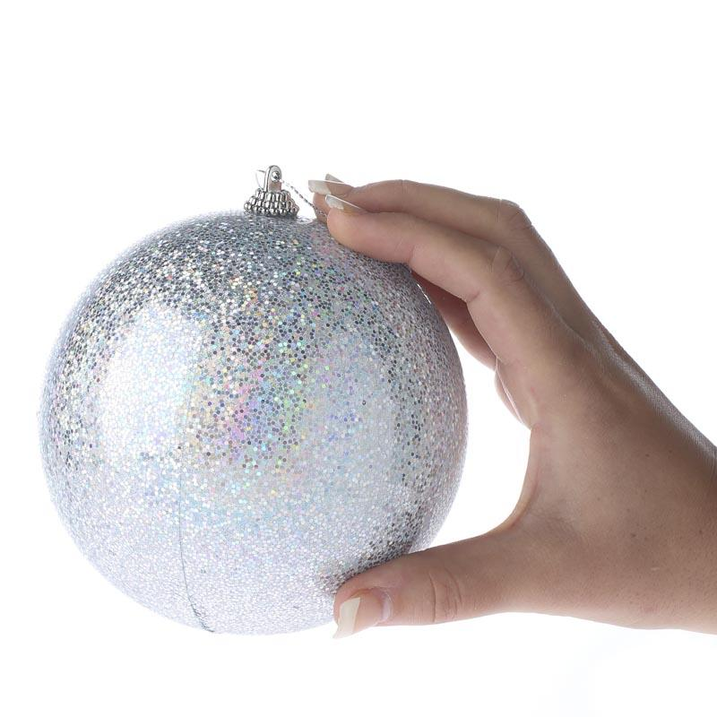 White Silver Ornament Silvers: Large Iridescent Silver Ball Ornament