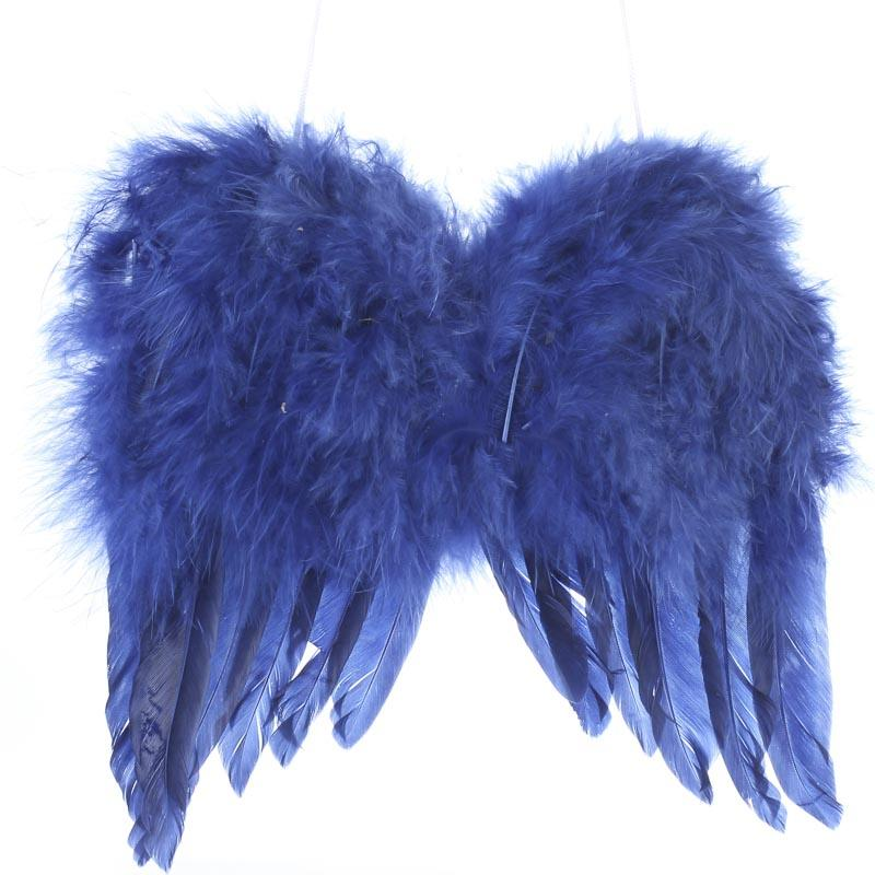 blue feathered angel wings - angel wings - doll making supplies