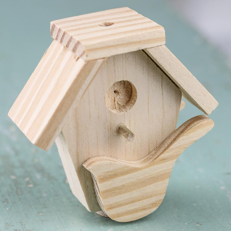Small unfinished wood birdhouse wood miniatures for Unfinished wooden boxes for crafts