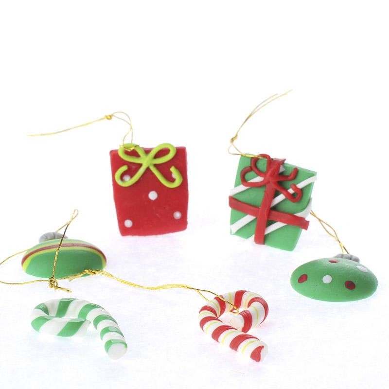 Polymer Clay Christmas Jewelry.Miniature Polymer Clay Christmas Ornaments Christmas